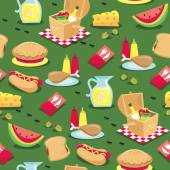Picnic Seamless Pattern Background — Vettoriale Stock