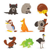 Cute Cartoon Australian Animals Icon Set — Stock Vector
