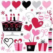 Retro Valentine clip arts — Stock Vector
