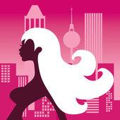 Cosmopolitan Silhouette Girl — Stock Vector