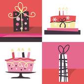誕生日ケーキ ・ ギフト — ストックベクタ