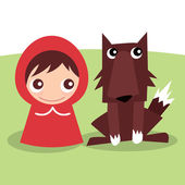 Little Red Ridding Hood and Wolf — Stock Vector