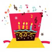 Musical Pop Up Birthday Card — Stock Vector