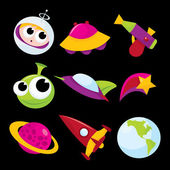 Cartoon Space Adventure Icons — Stock Vector