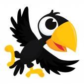 Cute Cartoon Crow — Stock Vector