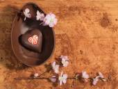 Easter chocolate egg with a surprise of chocolate heart decorated,sprinkled with cocoa powder and accompanied with almond blossom. — Stock fotografie
