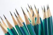 Set of sharpened green pencils — Stock Photo