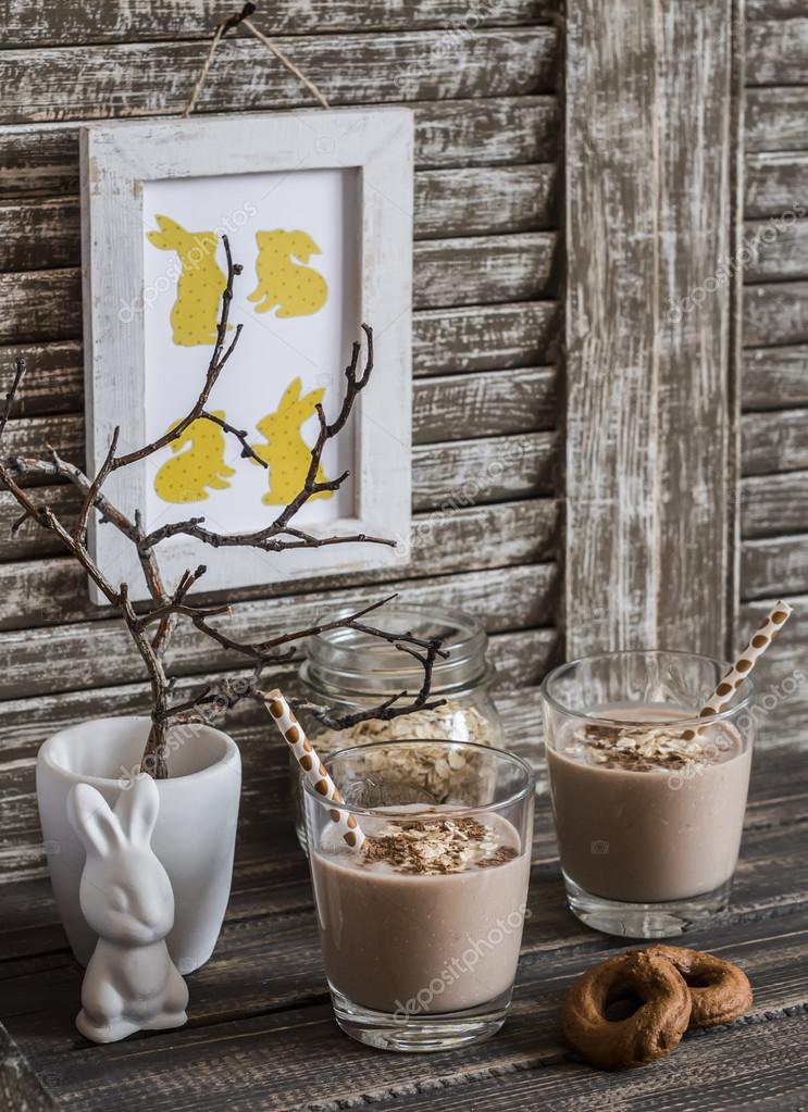 Decorations Easter Ceramic Rabbit Dry Branches In A Ceramic Vase And A Homemade Easter Picture On Light Rustic Wooden Table Vintage Style Stock