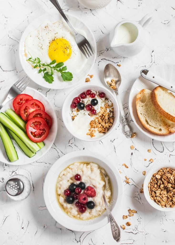 Table Breakfast Cottage Cheese With Yogurt And Berries