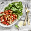Stir fry of chicken breast and sweet red pepper and fresh spinach — Stock Photo #76039225