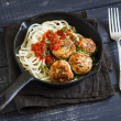 Chicken meatballs and spaghetti in a pan — Stock Photo #79210934