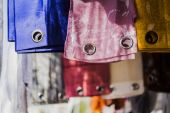 Curtains and colored fabrics — Stok fotoğraf