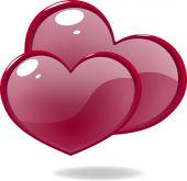 Two shiny icon red hearts — Stock Vector