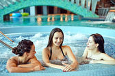 Friends In Swimming Pool, Having Fun — Stock Photo