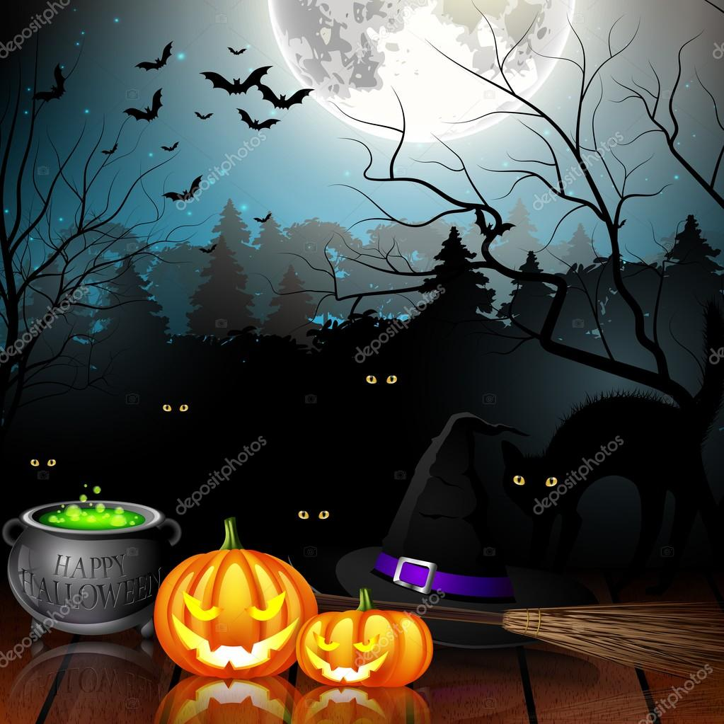 Halloween party background with pumpkins, hat, pot and broom in ...