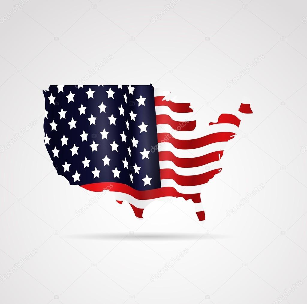 美国国旗地图在几何中的插画, 抽象的, 孤立的背景— vector by art