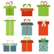 Set of colorful icons of gift boxes — Stock Vector #76466359