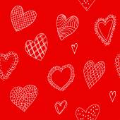 Seamless pattern with hand-drawn hearts — Stock Vector