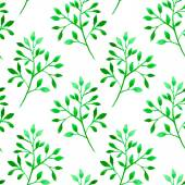 Seamless pattern with green branches and leaves — Stock Vector
