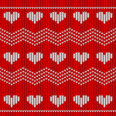 Red knitted seamless pattern with hearts — Stock Vector