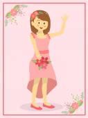 Casual Pink Wedding Bride — Stock Vector