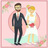 Wedding Couple Holding Hand — Stock Vector