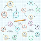 Vector doodle circles elements for infographic. — Cтоковый вектор