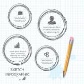 Vector doodle sketch elements for infographic. — ストックベクタ