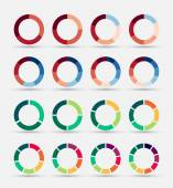 Segmented and multicolored pie charts set. — Stock Vector