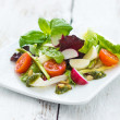 Summer leaf salad on a wooden background — Stock Photo #73455053