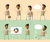 A set of vector business characters . Attractive african american businessman and managers in suits and ties in various poses. Presentations, negotiations, coffee break. Emotions. Vector stock. Flat. — Stock Vector