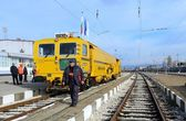 Track construction train on Railway Station in Sofia, Bulgaria Nov 25, 2014 — Stock Photo
