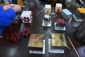 Making of Christmas candle in Sofia, Bulgaria Nov 15, 2014 — Stockfoto