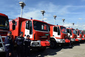 Sofia, Bulgaria - June 9, 2015: New fire trucks are presented to their firefighters — Stock Photo