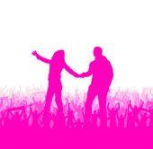Romantic couples silhouettes — Stock Vector