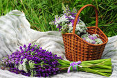 Picnic on a meadow in a rustic style. Basket with flowers lupine. — Stock Photo