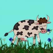 Cartoon cow with sacrame eyes — Stok Vektör
