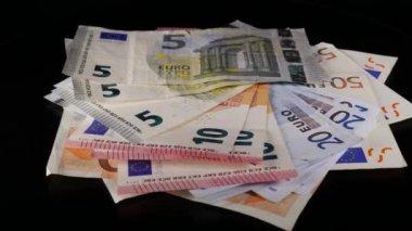 Euro banknotes turning — Stock Video