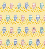 Vector colorful owl seamless pattern, Pink orange and turquoise  — Stock Vector