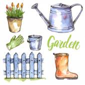 Watercolor garden set — Stock Vector