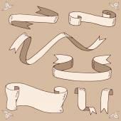 Hand drawn ribbons — Stock Vector