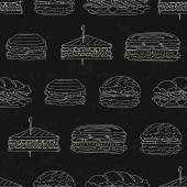 Sandwiches and hamburger on black grunge background — Stock Vector