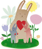 Mother's Day Mom hugging its leverets bunny, drawn in a vector — Stock Vector