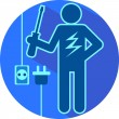 Electric blue The stick figure of a man electrician flat symboli — Stock Vector #72542161