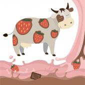 Fruit strawberry chocolate milk cow milk splash Vector Illustrat — Stock Vector