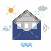 House Building Envelope symbolic figurative image, with wind, rain, sun, noise and water — Stock Vector