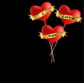 I love you balloons — Stock Vector