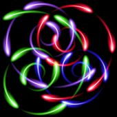 Multicolor neon wervelende fen-branden abstract achtergrond — Stockvector