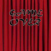 Game over sign over the red curtain — Stock Vector