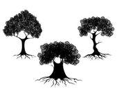 Three trees silhouettes — Stock Vector